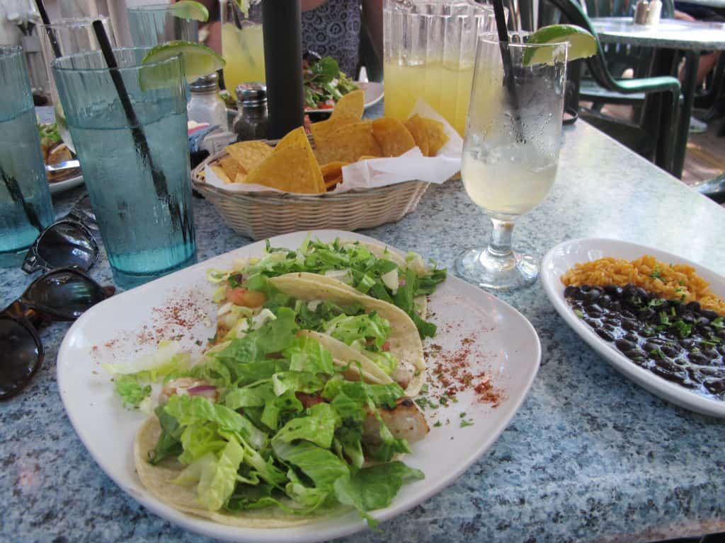 Mahi Mahi gluten free fish tacos come complete with rice and beans side.
