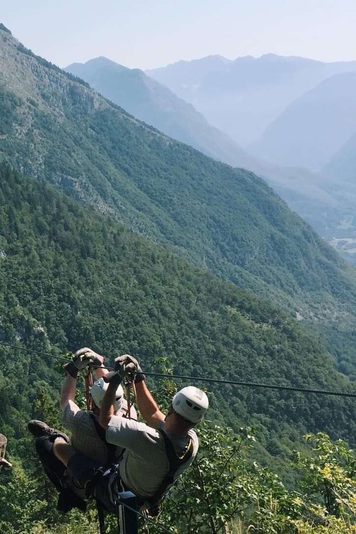 A tandem ziplining with Aktivni Planet over the alps. You can't go to Slovenia without ziplining with Aktivni Planet in Europe's biggest zipline park. Ziplining in Slovenia is unlike anything else.
