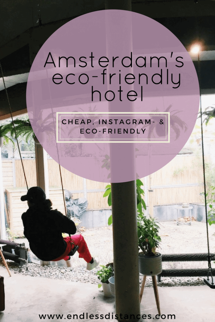 The cheapest hotel for an instagram- and eco-friendly stay in Amsterdam: Ecomama Hotel Amsterdam is cozy, sustainable and made my time in Amsterdam special. Indoor swings, indoor teepee, bikes, a retro fridge, this hotel has it all.