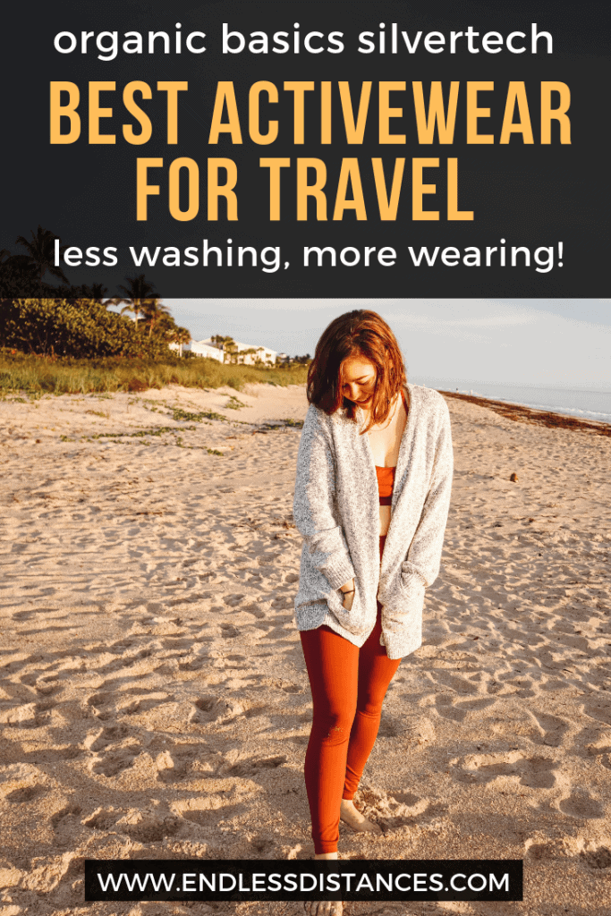 Organic Basics silvertech activewear claims its anti-odor technology extends time between washing. Could these be a traveler's dream? I took them for a spin and here's my review. #organicbasics #organicbasicssilvertech #travelclothes
