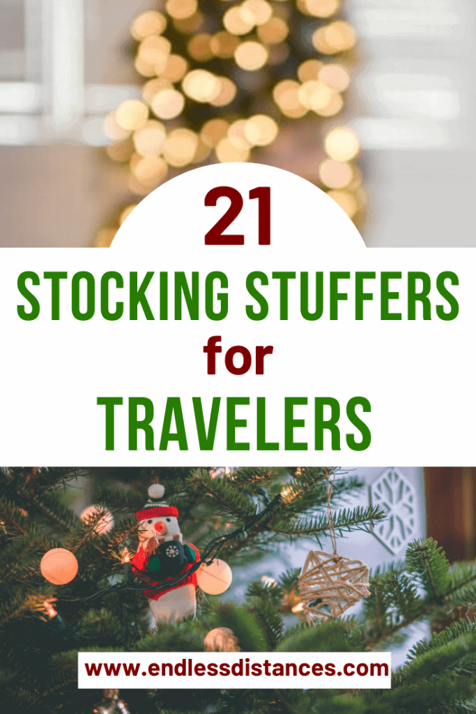 If it can fit in a stocking, it can fit in a carry on! These 21 stocking stuffers for travelers come at an affordable price and are ideal for travel lovers. #stockingstuffersfortravelers #stockingstuffers #travel #travelstockingstuffers