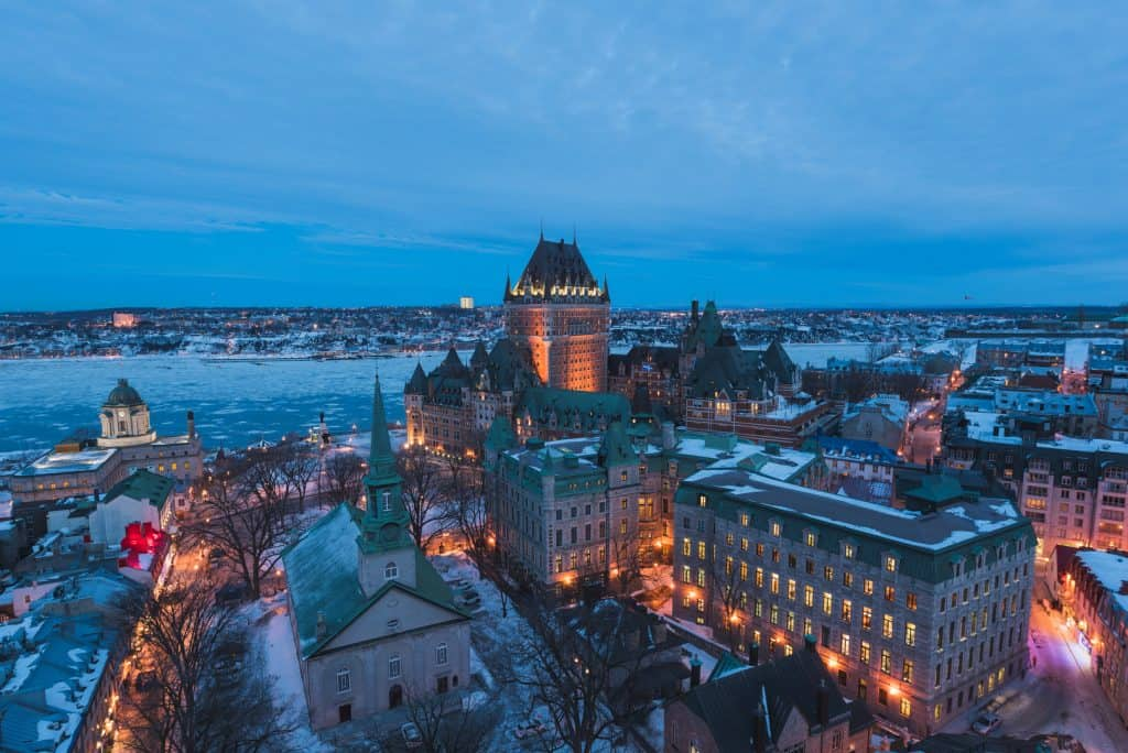 A view over snow capped Old Quebec City.