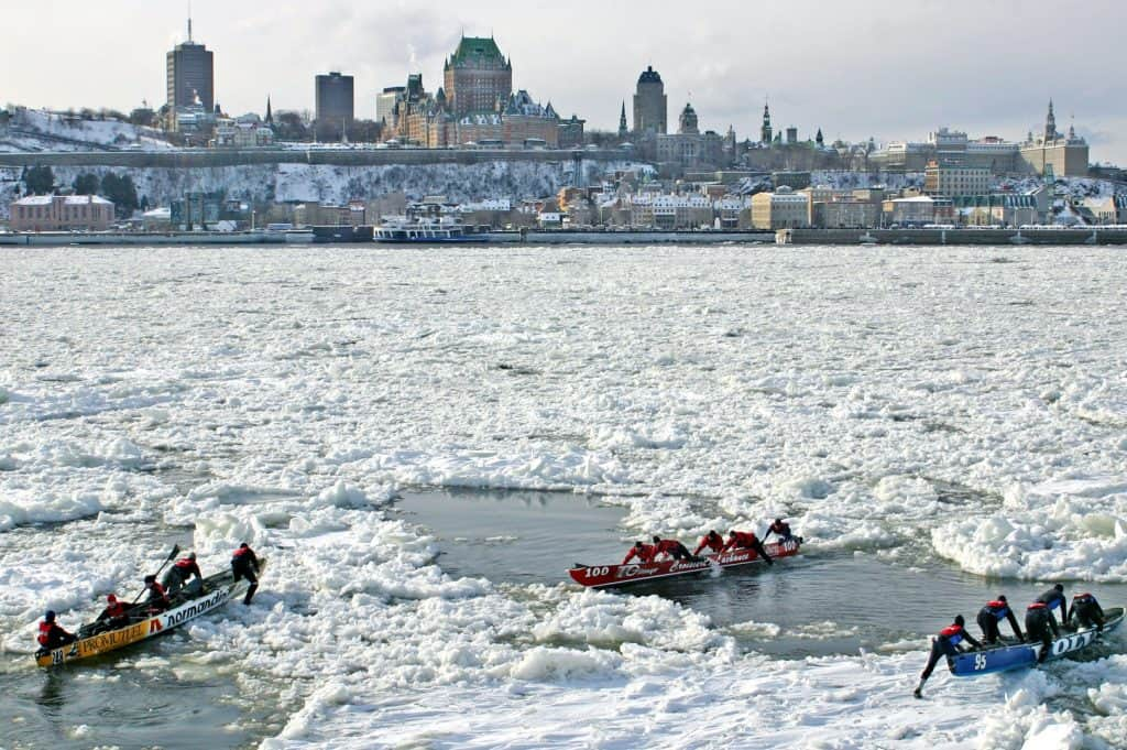 The Quebec City winter carnival features ice canoeing and more.