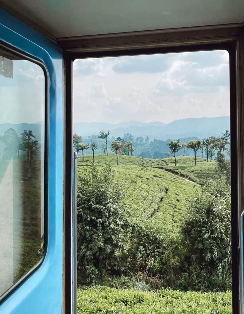 A view out the Colombo to Ella train door.