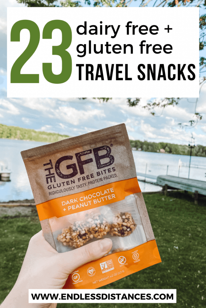 Finding dairy free gluten free snacks that taste good and travel well can be difficult. Here are 23 of the best portable snacks to fit these dietary needs! #glutenfreetravel #dairyfreeglutenfreesnacks #glutenfreesnacksonthego