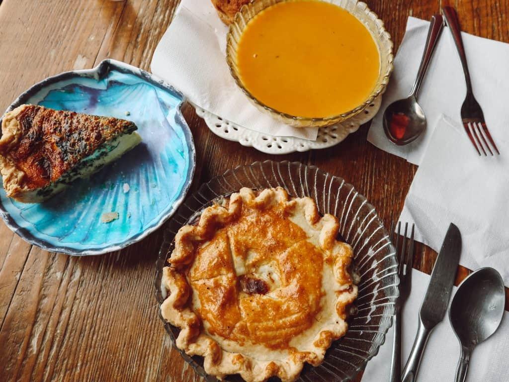 Gluten free chicken pot pie, quiche, and soup