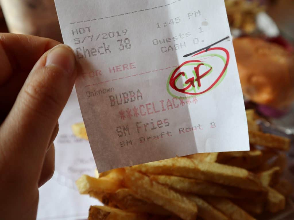 "A receipt that says ""celiac"""
