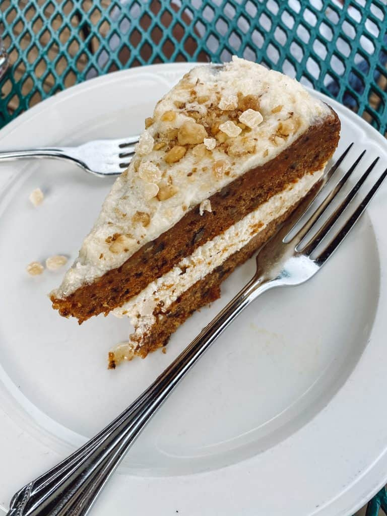 Gluten free carrot cake at Stafford's Weathervane Restaurant in Charlevoix Michigan