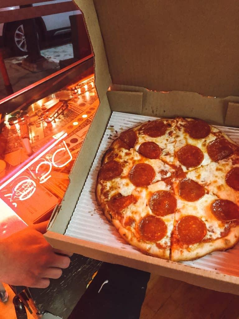 Gluten free pizza at Paesano's Pizza in Traverse City Michigan.