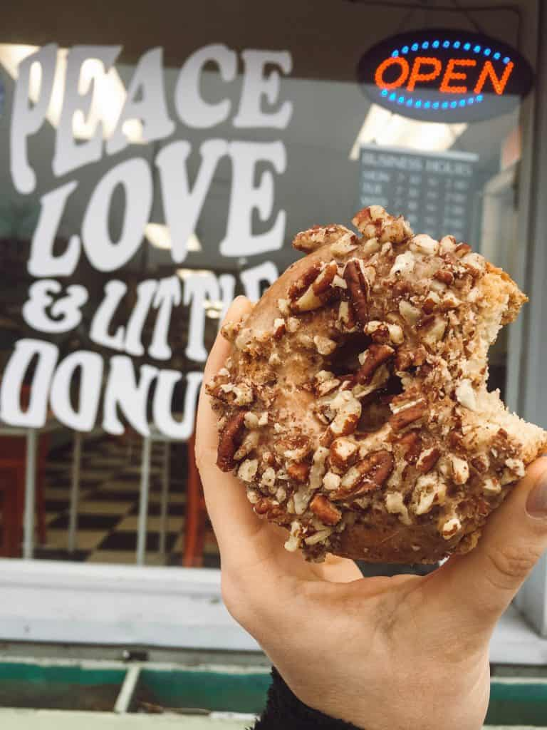 Gluten free donut at Peace Love & Little Donuts (made by Third Coast Bakery) in Traverse City.