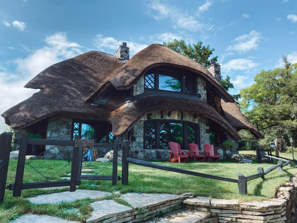 Thatch House - the most photographed of all the Charlevoix Mushroom Houses, is available for vacation rental.