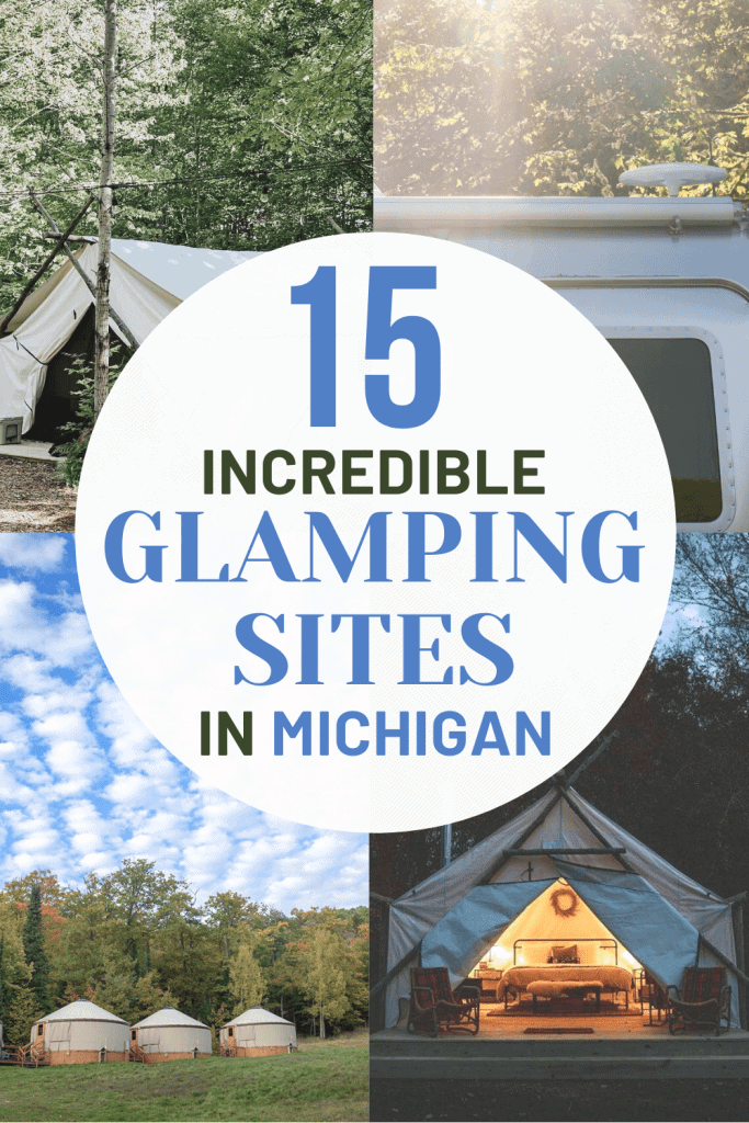 Ready to head Up North - but don't want to bring the tent? Glamping in Michigan is your answer! Check out Michigan's top 15 glamping sites. Michigan | USA | United States of America | Travel Destinations | Honeymoon | Luxury Camping | Camping | Vacation | Glamping in Michigan | Glamping | Off the Beaten Path | Local Guide | Wanderlust #travel #glamping #camping #budgettravel #offthebeatenpath #bucketlist #Michigan #USA #America #UnitedStates #exploreMichigan #visitMichigan #seeMichigan #discoverMichigan #TravelMichigan