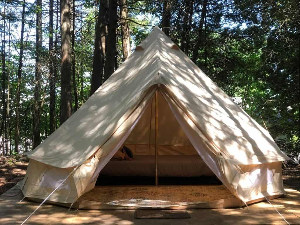 Glamping in Michigan at the Tiki Hut Yurt