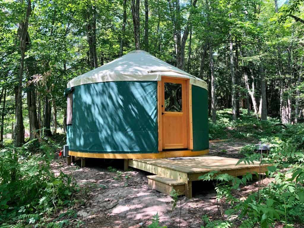 A woodland Yurt at Au Train Lake in Michigan's upper peninsula