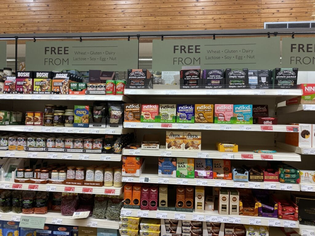 gluten free aisle at booths in the lake district
