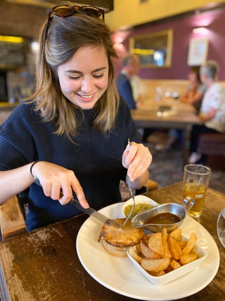 gluten free peak district - pie at the angel pub